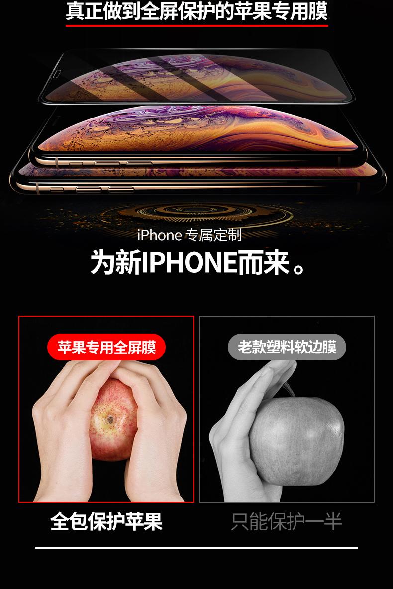 钢化膜苹果手机全屏覆盖膜全包边防窥防偷窥贴膜详细照片