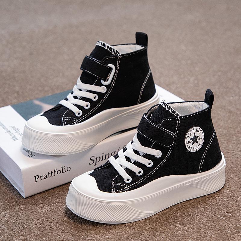 2021秋季新款高帮儿童帆布鞋男童女童鞋子白色布鞋宝宝小白鞋球鞋