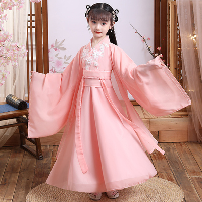 Childrens Chinese Hanfu girl spring ancient costume super fairy elegant Ru skirt cherry Princess little girl childrens dress