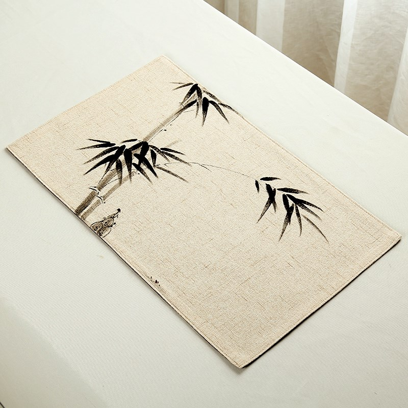 Small tea mat Zen table flag Chinese tea cup mat bamboo cup spare parts insulation mat Japanese-style tablecloth