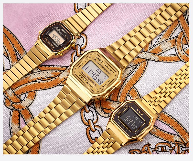 小金錶手錶男小方块金块女復古小方表电子金色详细照片