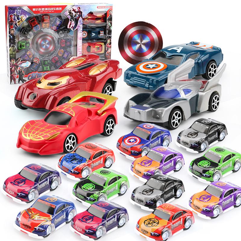 复仇者联盟货柜车套装带迷你可滑行回力赛车男孩女孩小汽车玩具A3