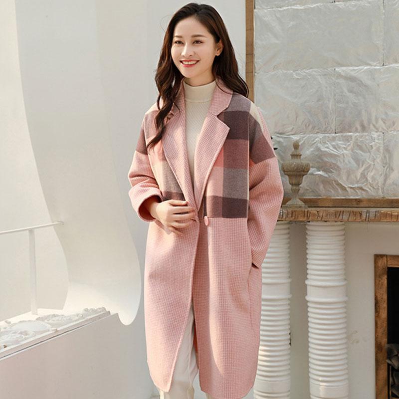 反季特价2019新款双面绒羊毛外套大衣修身韩版中长款毛呢子格子女