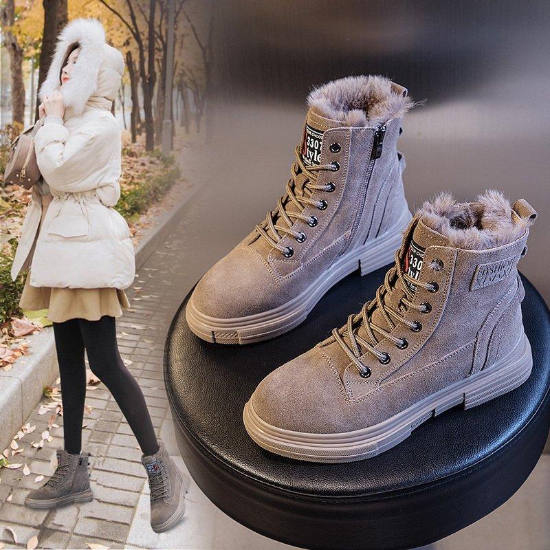 2020冬季新款百搭雪地靴女皮毛一体秋冬马丁靴加绒加厚棉鞋短↓靴子