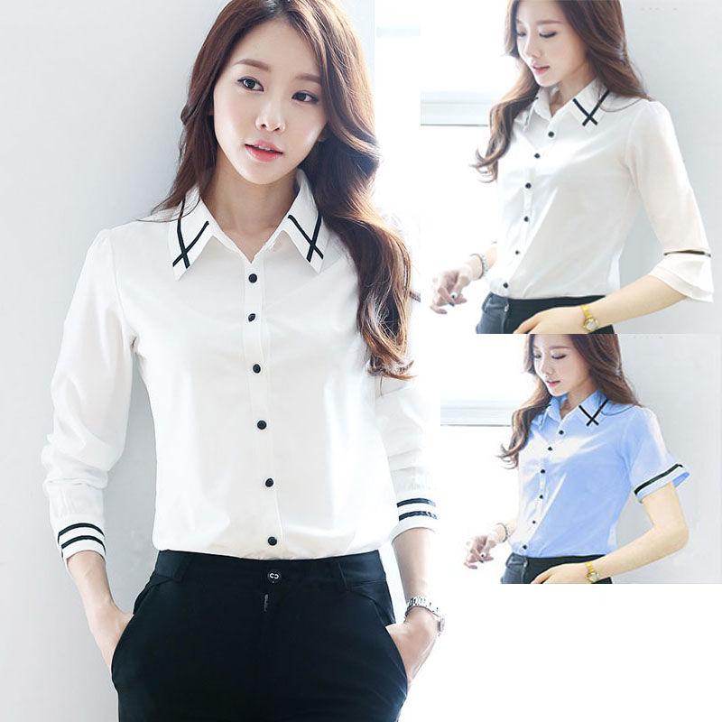 衬衫女学生韩版宽松上衣职业衬衣白色短袖七分袖喇叭袖女装工作服