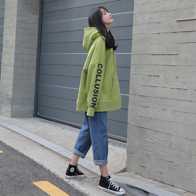 加绒卫衣2021新款女宽松韩版果绿牛油中长款连帽大码春秋薄款外套