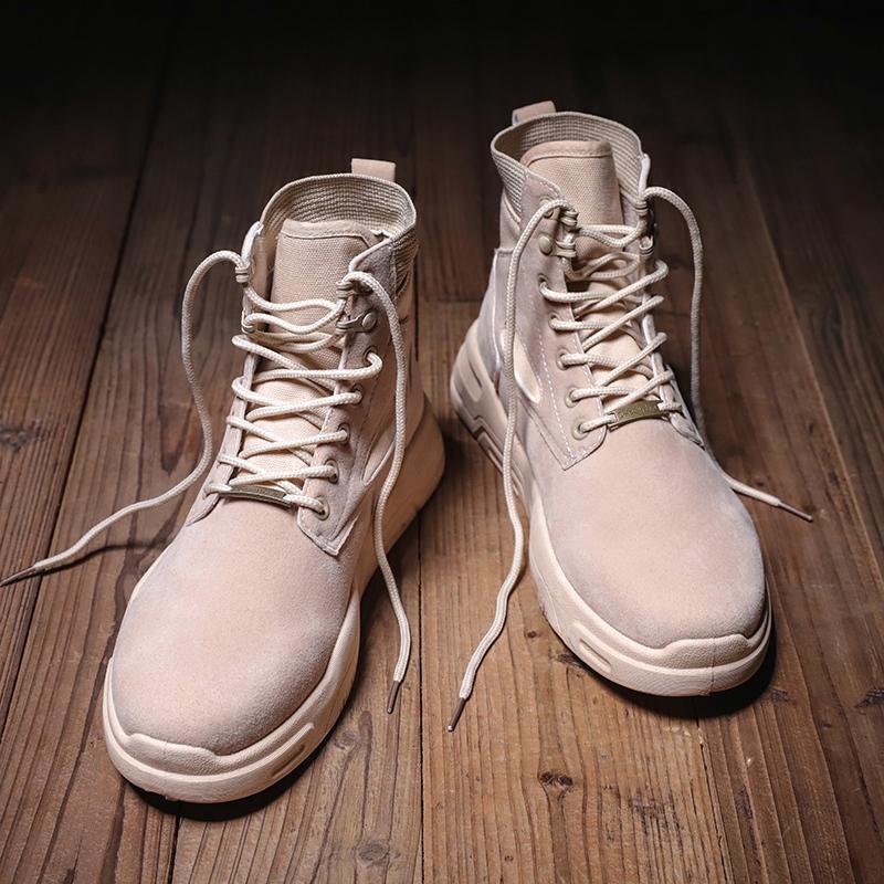 马丁靴男中帮秋冬短靴男靴子军靴真皮靴韩版潮流雪地工装鞋子棉靴