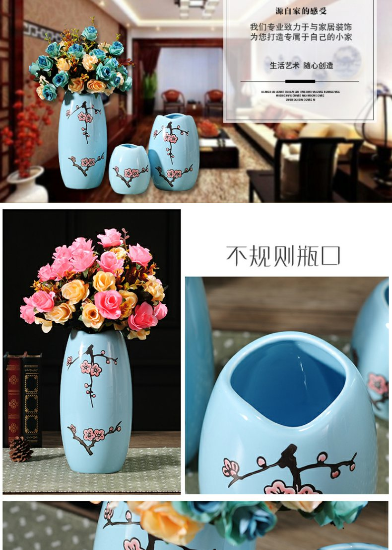 Continuous grain of American creative ceramic vase flower furnishing articles I and contracted sitting room TV ark, home decoration flower arrangement