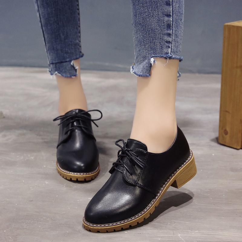 2019韩版英伦小单鞋皮鞋学生新款英伦风低跟粗跟圆头系带女鞋秋冬