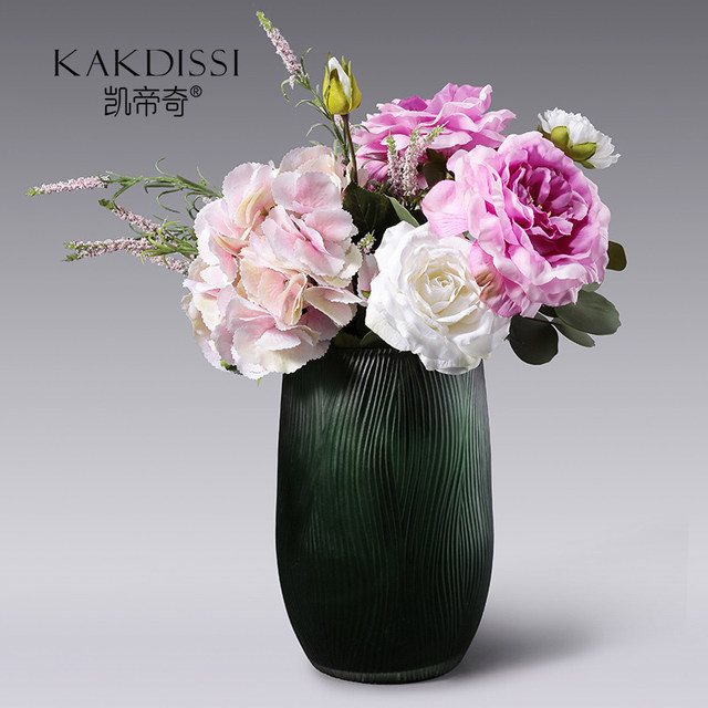 Kai Diqi green meal tabletop striped vase decoration living room inserted dried flower glass home accessories gardening flowers bottle