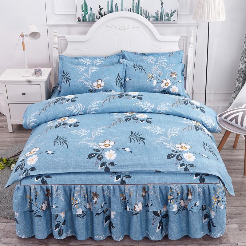 公主风纯棉床上用品四件套100全棉舒适床裙款被套宿舍床裙式件套