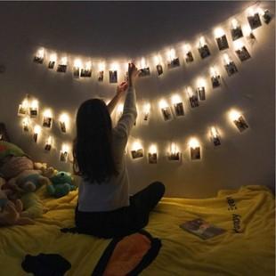 Чистый красный INS девушка сердце день рождения фон декоративный фото клип свет строка фонарь стена романтический фото стена ткань положить
