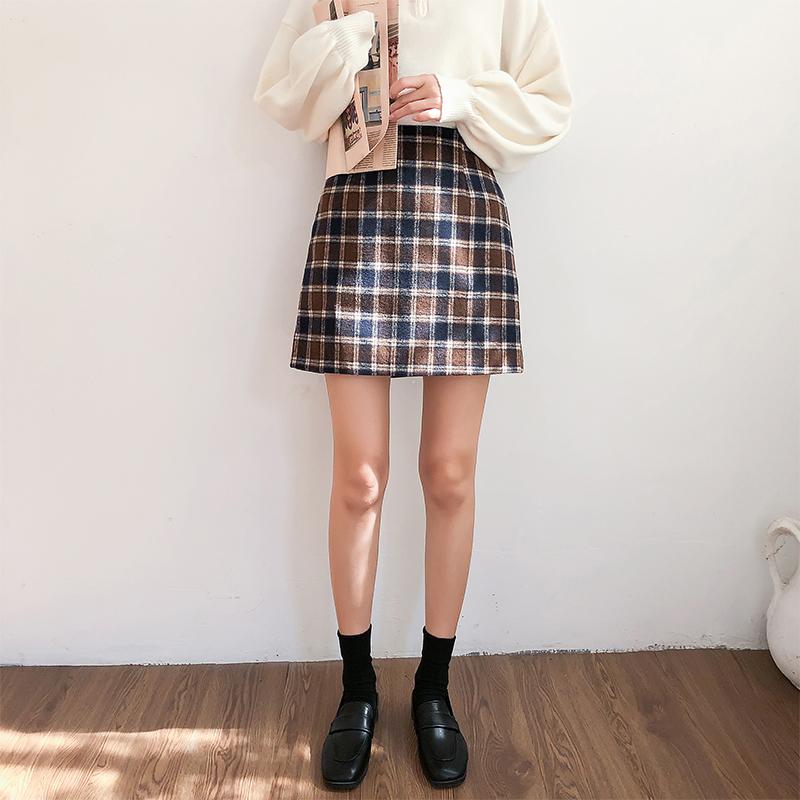 格子半身裙秋冬女小个子裙子百搭学生高腰显瘦显高毛呢a字短裙