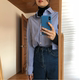 Autumn and winter striped shirt inside the ride bottoming personal pinstripe blue shirt wild female long-sleeved high-necked cotton shirt