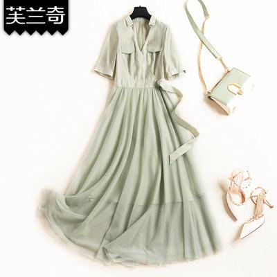 很仙的连衣裙夏款网纱2019流行气质新款收腰显瘦长裙拼接过膝女装