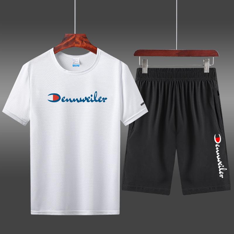 夏季短裤男士T恤休闲运动件套宽松型男套装两短袖跑步v短裤速干服