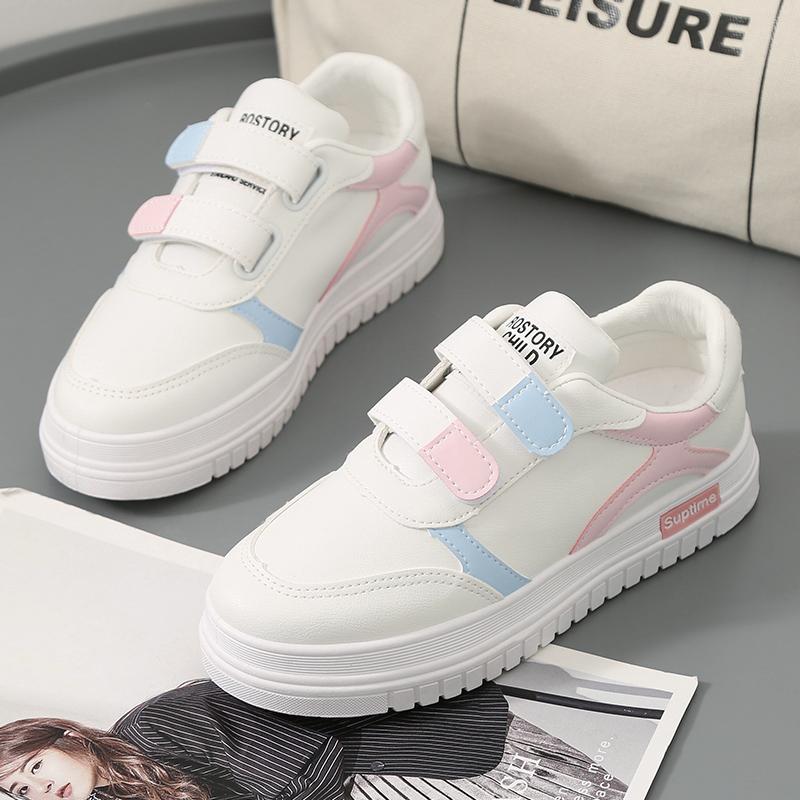 魔术贴小白鞋女2019秋季新款韩版运动休闲板鞋学生增高跑步鞋单鞋