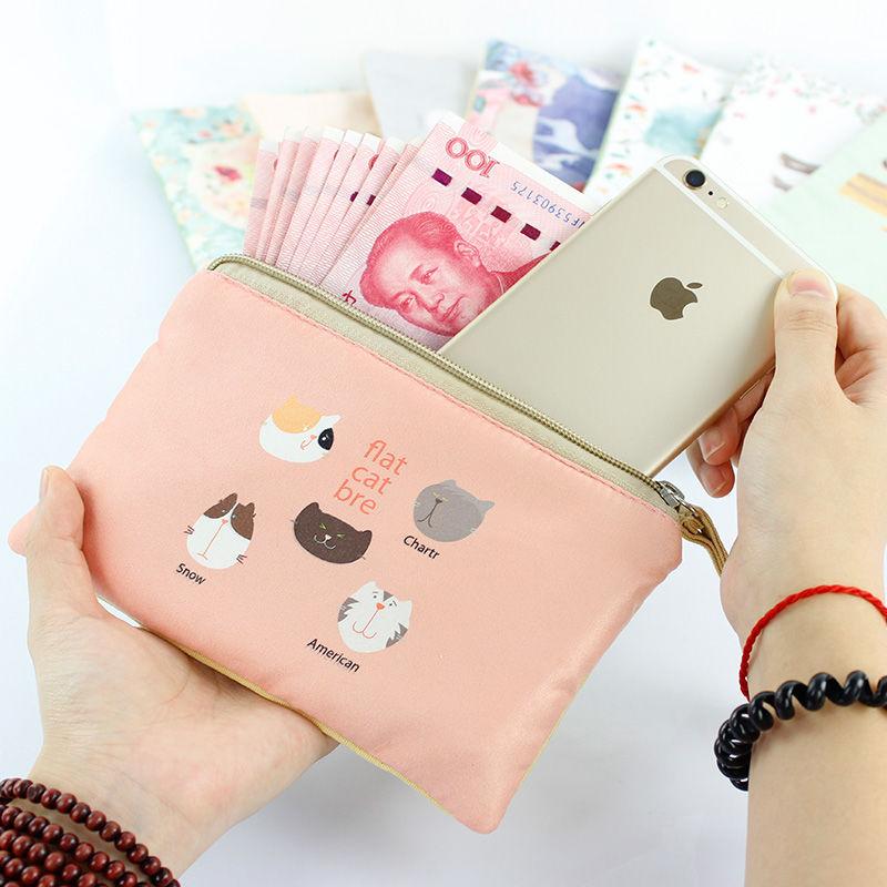 Đồng xu ví màn hình lớn điện thoại di động túi vải canvas dây kéo Nhật Bản và Hàn Quốc mini kèn tay dễ thương cầm túi sinh viên đổi túi - Ví / chủ thẻ