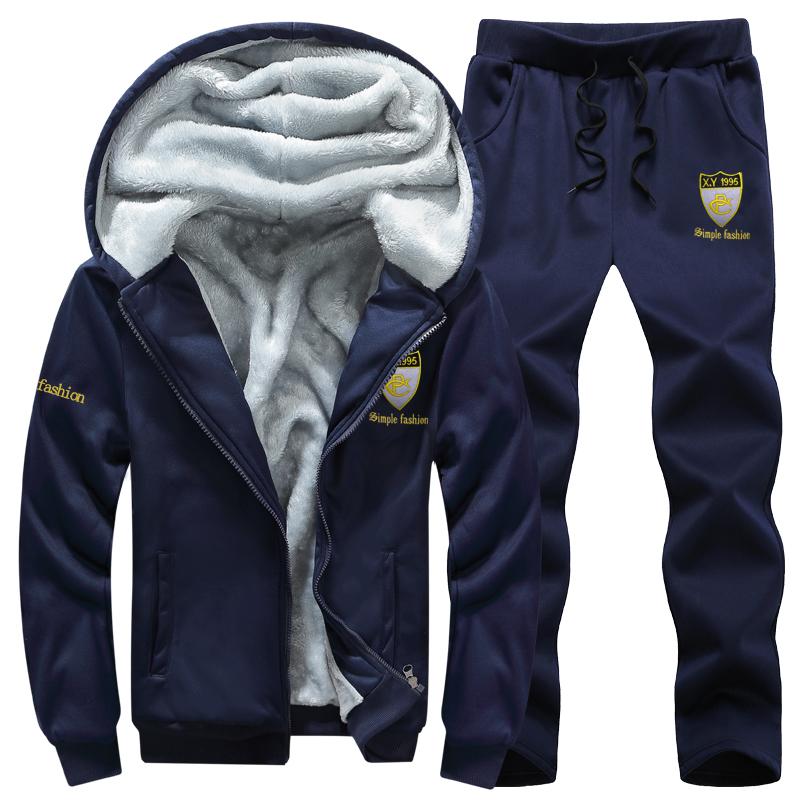 运动套装男冬季加绒加厚男式休闲青年潮流外套大码连帽卫衣两件套