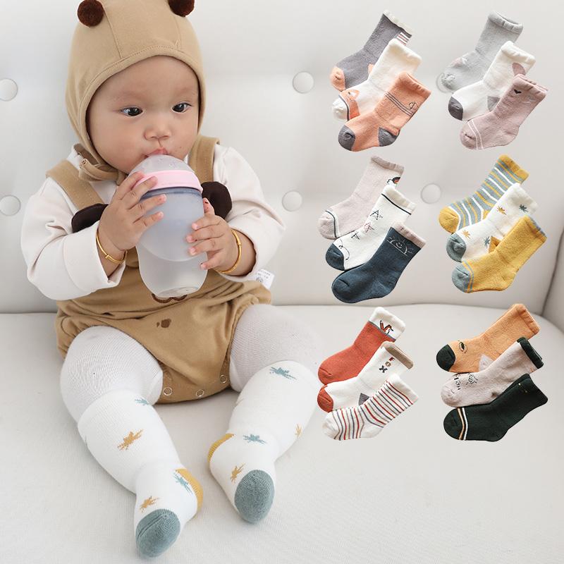 儿童冬季毛圈棉袜加厚保暖地板袜中筒宝宝中小童婴儿A类袜子3双装