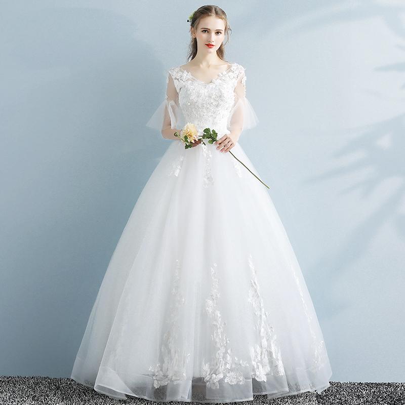9e1775ef61792 USD 104.39] Korean Light Wedding Dress Dress 2019 new bride was thin ...