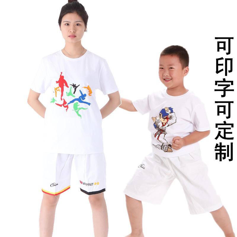 Чистый хлопок Тхэквондо Г.И. детские Летний сезон короткий рукав Тренировка футболки футболки GI Taekwondo на заказ слово