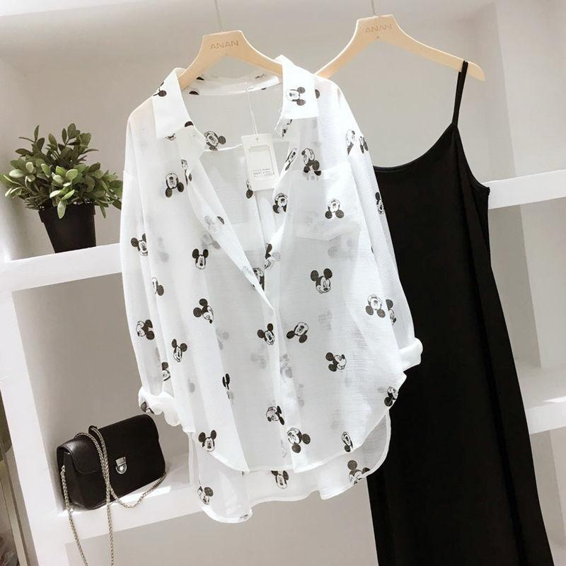 防晒衣女2021夏季韩版卡通印花开衫宽松大码女装长袖外搭雪纺衬衫