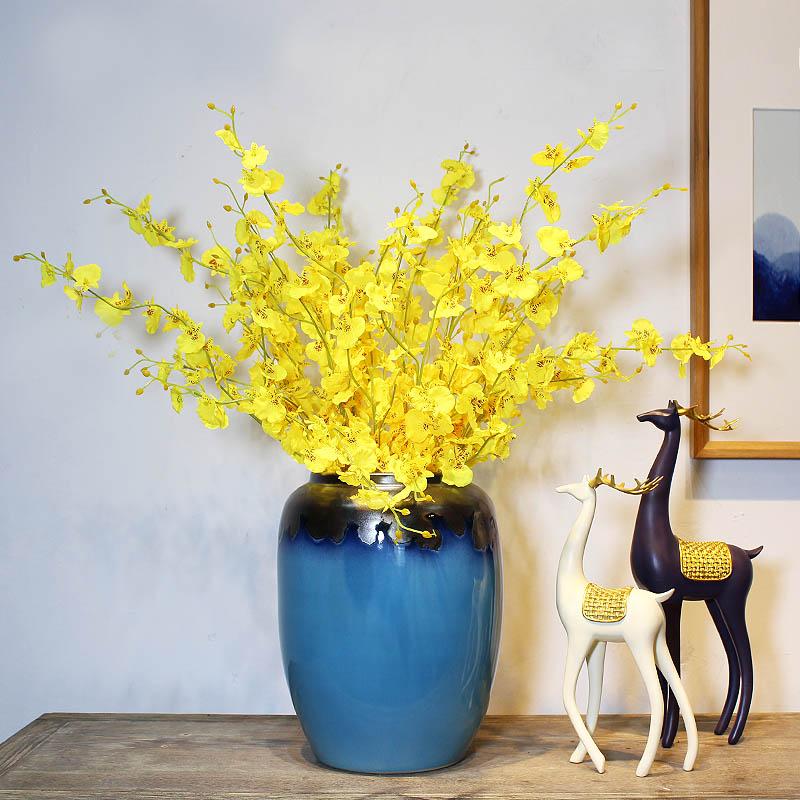 沙发两边的摆件新中式陶瓷花瓶摆件客厅插花大号落地景德镇简约现