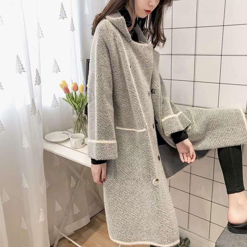 2018中长款新款加厚大衣仿貂绒韩版双面潮针织外套绒水貂女冬季
