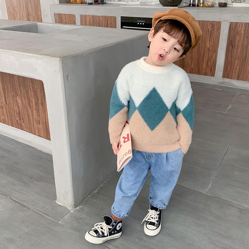 男童毛衣水貂绒毛衣2020春秋新款中小女童套头洋气针织衫长袖上衣