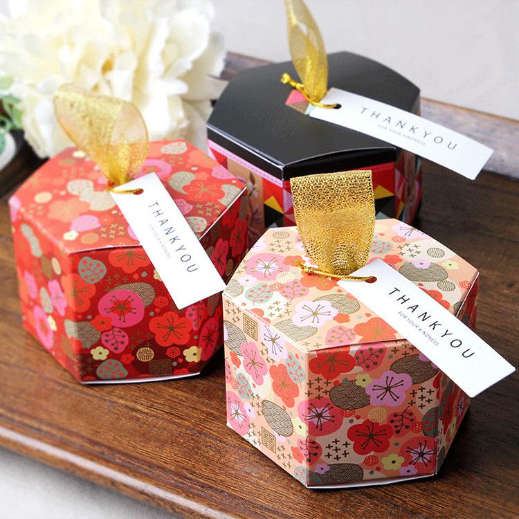v糖果折叠纸糖果盒新年礼品元旦礼盒六边形创意喜糖纸质盒XT202020