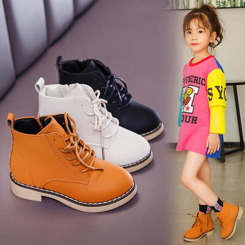 小孩子7皮鞋8男童9女童高帮女孩2儿童马丁短靴4秋季10岁5单靴6潮3