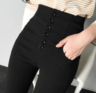 2020 Spring and Autumn Length wearing super high waist slim leggings thin section tight abdomen button pants women