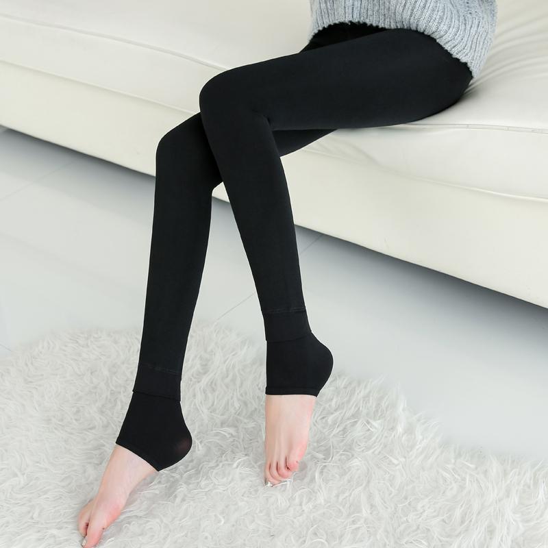莉花妮七彩棉打底裤加绒加厚女秋冬季外穿显瘦保暖裤高腰踩脚裤