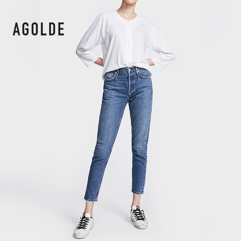 率性男友风AGOLDE纯棉蓝色九分男朋友牛仔裤女直筒宽松2020年秋季