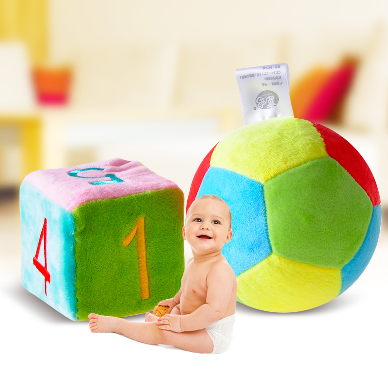 Tong Chang baby toy rattle hand cloth ball recognition box Baby cloth Dong box rattle toy rattan ball toy