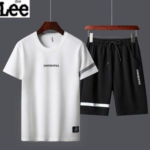 ibelee2020新款短袖T恤男士休闲运动套装韩版体恤夏季两件套 衣服