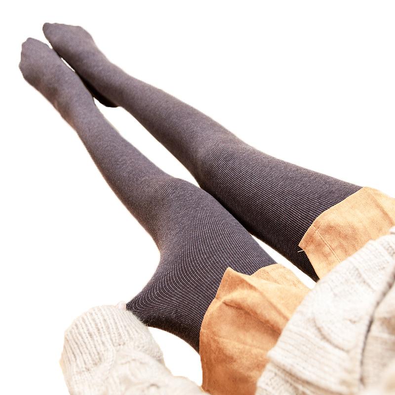 秋冬季燕麦咖啡色加绒螺纹外穿打底裤10-10新券