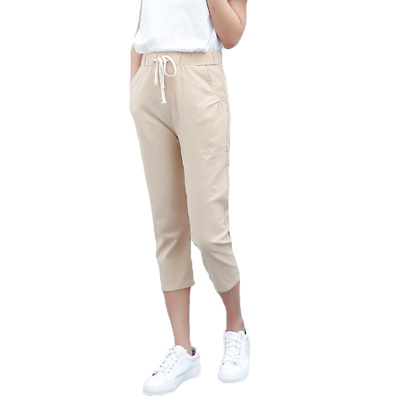 新款韩版女宽松穿亚麻七分裤 哈伦裤