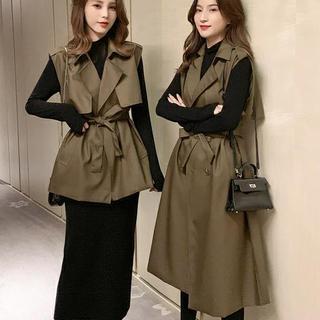 2020 осенью и зимой новый ретро безрукавный жилет ветровка женщина пальто дизайн смысл длина жилет небольшой Толпа куртка, цена 1165 руб