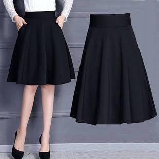 [口袋+安全褲]春夏新款大碼高腰顯瘦百搭半身A字裙女廣場舞中長裙