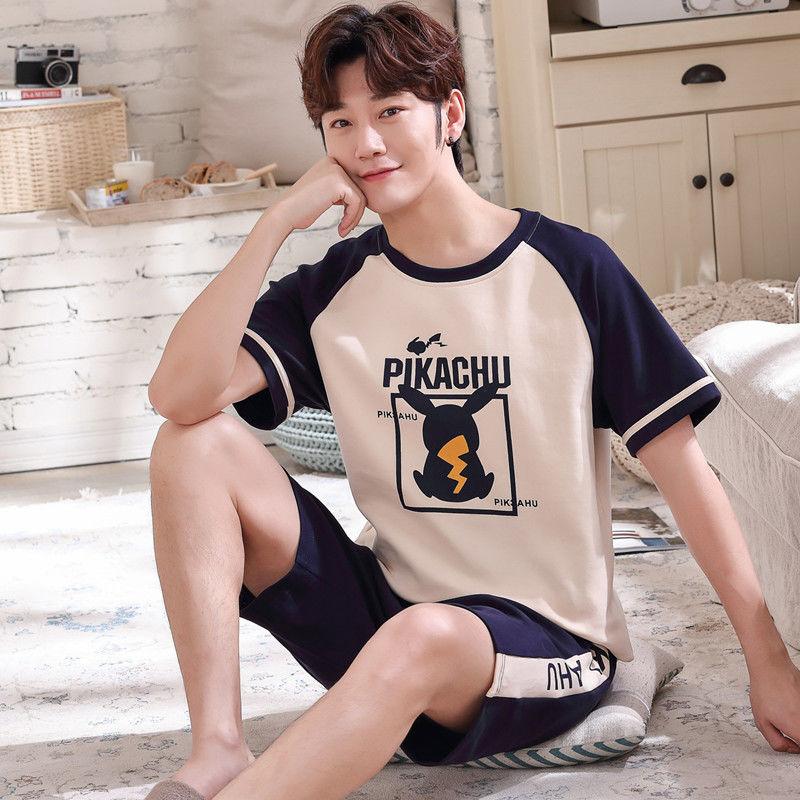 睡衣男夏短袖纯棉春秋男士睡衣夏季短裤青年薄款夏天家居服套装