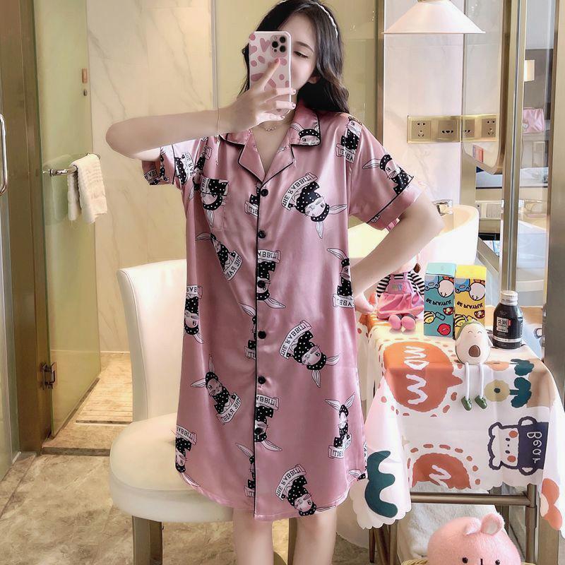 衬衫裙新款2021冰丝睡裙开衫女夏季女士韩版舒适家居服仿真丝睡衣