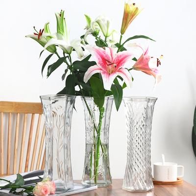 创意大号透明六角玻璃花瓶水养富贵竹百合鲜花插花瓶家用客厅摆件