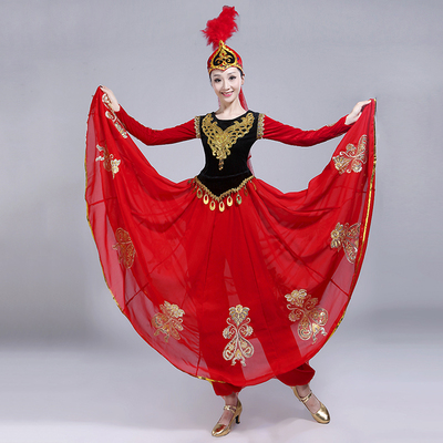 Folk Dance Costumes Dance Costume performance dress female adult ethnic style Uygur modern performance dress big skirt