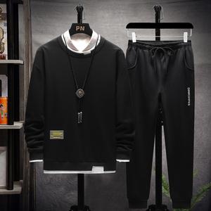 肯敖2020套装男新款秋冬长袖T恤青年圆领透气宽松简约时尚卫衣男