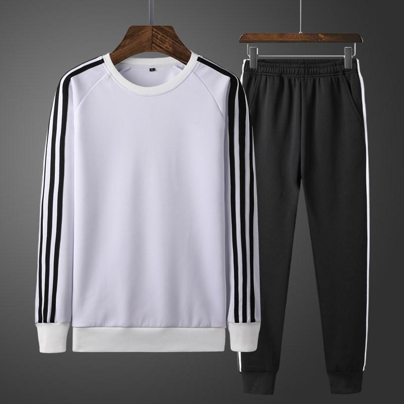 Bộ đồ thể thao nam mùa thu đông thoải mái cho nam bộ đồ dài tay hai mảnh phù hợp với áo len nam thể thao rộng rãi - Bộ đồ