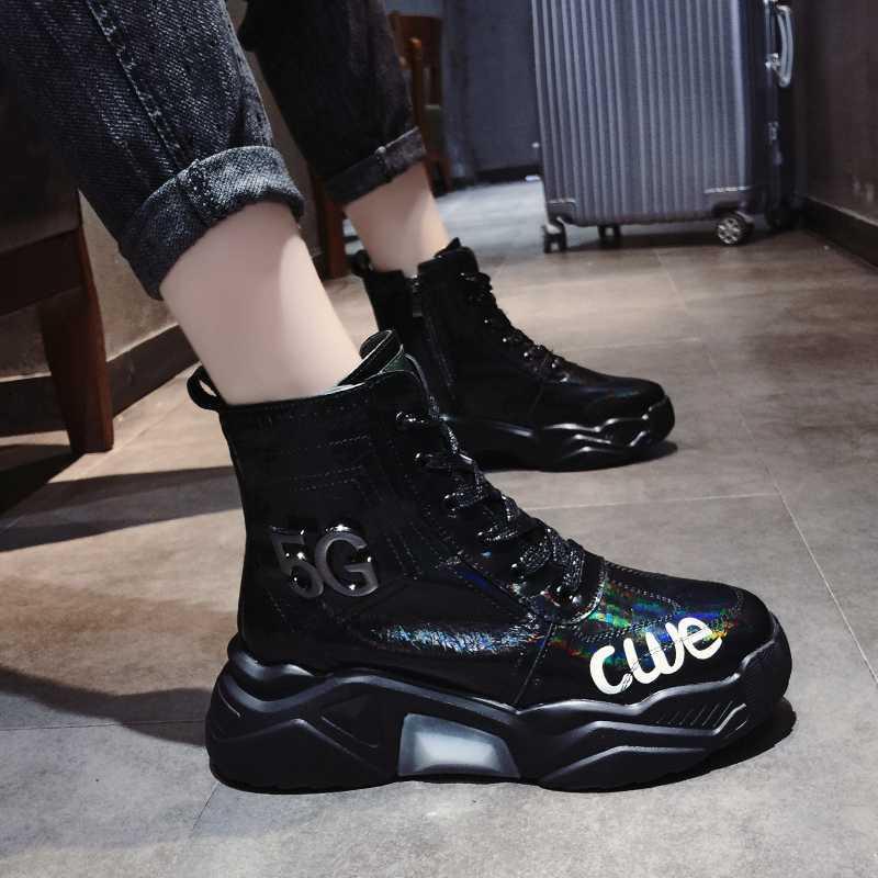 Giày thể thao cao cấp Giày nữ mùa đông 2019 mới Giày cotton hoang dã và nhung dày Giày đế dày cũ - Giày cao gót