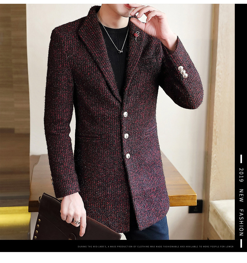 Autumn and winter windshield men's long hair coat Korean version of the trend handsome British wind coat men thickened 56 Online shopping Bangladesh