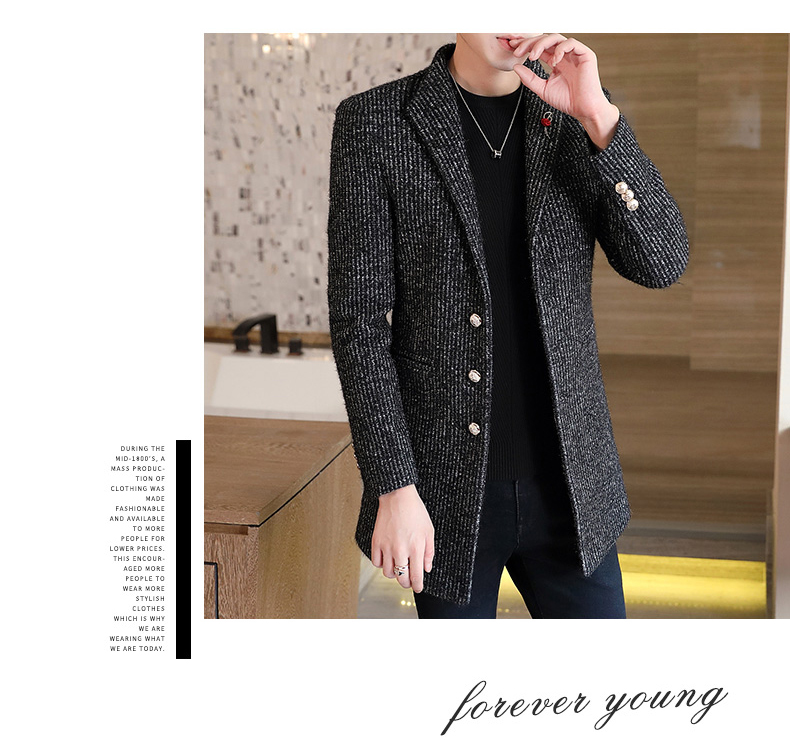 Autumn and winter windshield men's long hair coat Korean version of the trend handsome British wind coat men thickened 62 Online shopping Bangladesh